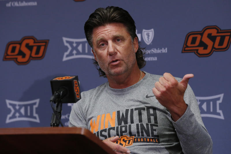 Oklahoma State head coach Mike Gundy during an NCAA college football media day in Stillwater Okla., Saturday, Aug. 3, 2019. (AP Photo/Sue Ogrocki)