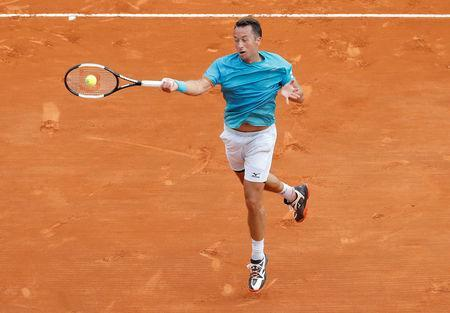 Tennis - ATP 1000 - Monte Carlo Masters - Monte-Carlo Country Club, Roquebrune-Cap-Martin, France - April 16, 2019 Germany's Philipp Kohlschreiber in action during his second round match against Serbia's Novak Djokovic REUTERS/Eric Gaillard
