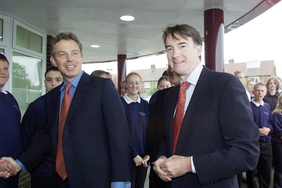 British Prime Minister Tony Blair (L) with Hartlepool MP and former Northern Ireland Secretary Peter Mandelson meeting pupils at the   1.2 million City Learning at Dyke House School in Hartlepool.   (Photo by Owen Humphreys - PA Images/PA Images via Getty Images)