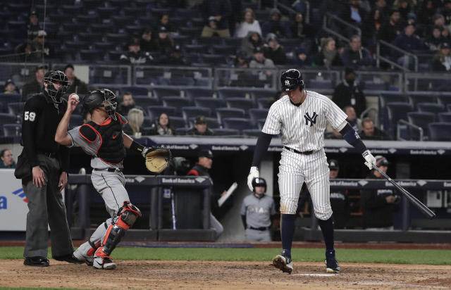 New York Yankees' Aaron Judge walks away after striking out swinging against the Miami Marlins during the seventh inning of a baseball game Tuesday, April 17, 2018, in New York. (AP Photo/Julie Jacobson)