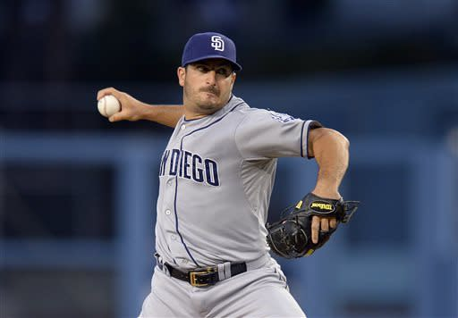 San Diego Padres starting pitcher Jason Marquis throws to the plate during the third inning of their baseball game against the Los Angeles Dodgers, Wednesday, June 5, 2013, in Los Angeles. (AP Photo/Mark J. Terrill)