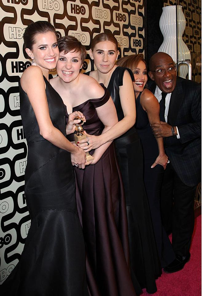 Allison Williams, Lena Dunham and Zosia Mamet attends HBO's Official Golden Globe Awards After Party held at Circa 55 Restaurant at The Beverly Hilton Hotel on January 13, 2013 in Beverly Hills, California.