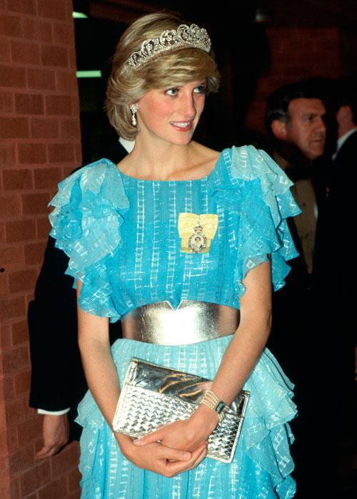 Diana, Princess Of Wales, Arriving For A Dinner Hosted By The Province Of New Brunswick. The Princess Is Wearing The Diamond Spencer Tiara. She Has Accessorized Her Pale Blue Evening Dress With A Broad Silver Belt And Silver Clutch Bag. Diana's Outfit Is By Fashion Designer Bruce Oldfield. (Photo by Tim Graham/Getty Images)
