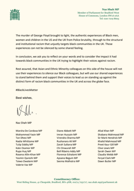 A total of 33 opposition MPs signed the letter to the home secretary. (Twitter/@NazShahBfd)