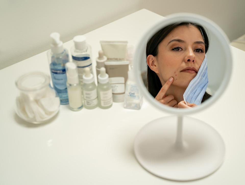 Face coverings can impact our skin. (Getty Images)