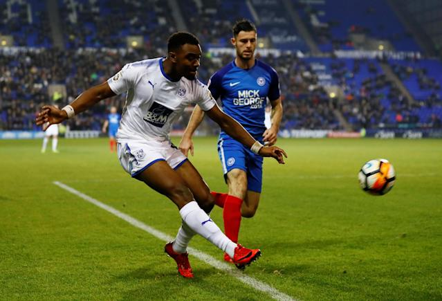 Soccer Football - FA Cup First Round Replay - Tranmere Rovers vs Peterborough United - Prenton Park, Birkenhead, Britain - November 15, 2017 Tranmere Rovers' Dylan Mottley-Henry in action with Peterbrough United's Andrew Hughes Action Images/Jason Cairnduff
