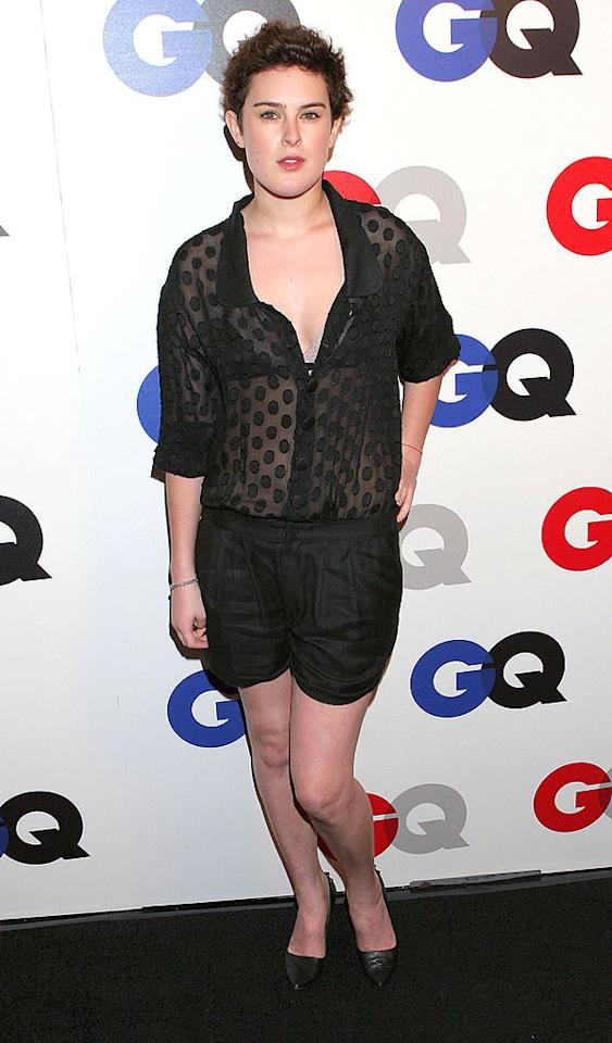 "We can't decided which of Rumer Willis' fashion faux pas is worse: the see-through polka dot top, or her formal shorts. Carlos Diaz/<a href=""http://www.infdaily.com"" target=""new"">INFDaily.com</a> - December 5, 2007"