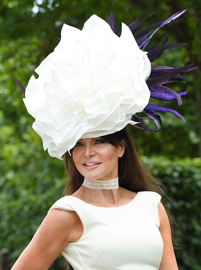 <p>Lizzie Cundy attends Royal Ascot 2017 at Ascot Racecourse on June 20, 2017 in Ascot, England. (Karwai Tang/WireImage via Getty Images) </p>
