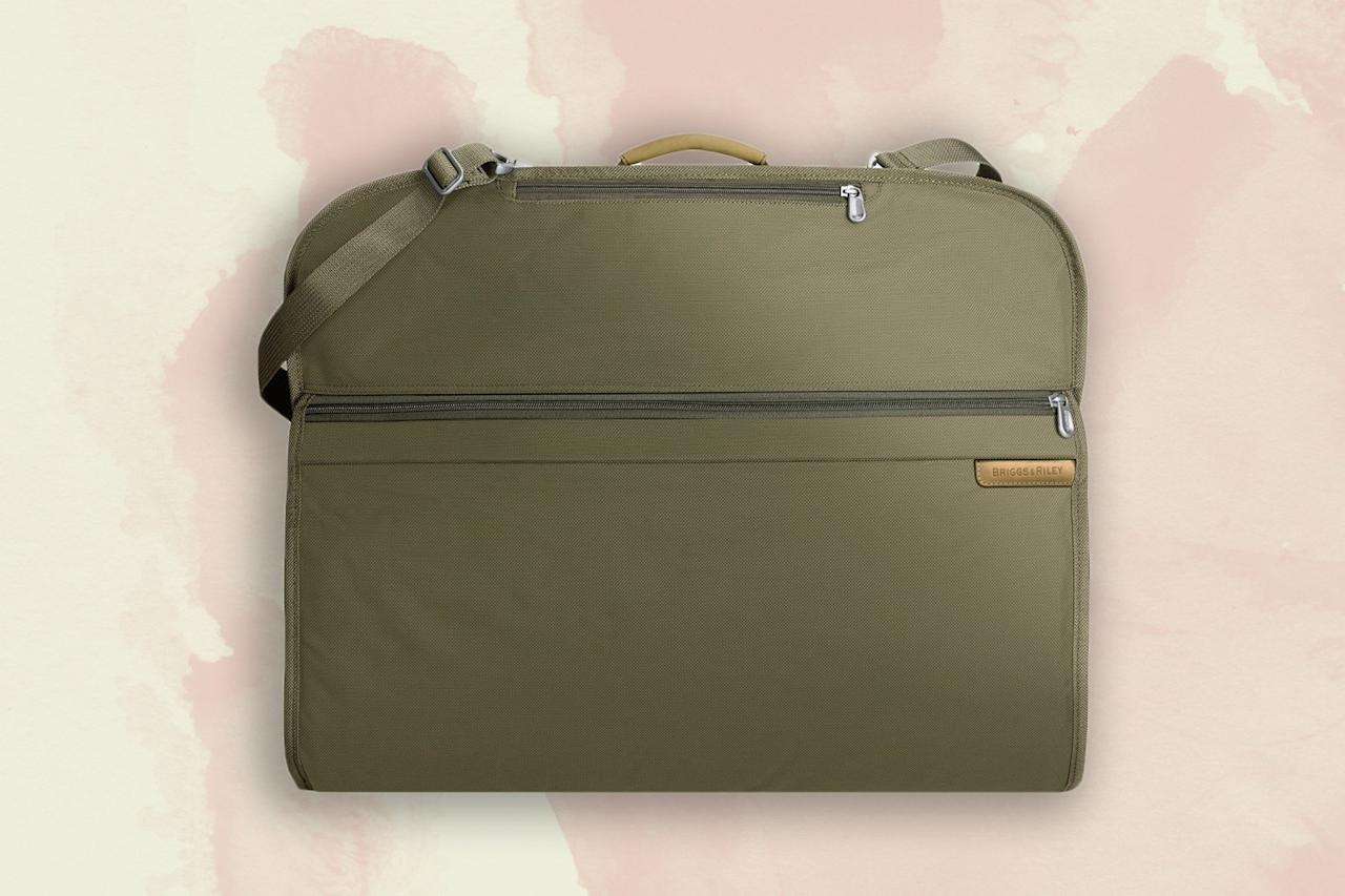 "<p>Briggs & Riley's ballistic nylon outer fabric resists everything from dirt and water to scuffs, making it one of the best garment bags on the market. With an included shoulder strap, it's incredibly portable, while its soft construction makes it easy to fit into an overhead compartment. It can hold a few days' worth of clothes, and the handy outer pocket for <a href=""https://www.cntraveler.com/story/writing-home?mbid=synd_yahoo_rss"">books</a> and magazines means it can also function as your only carry-on, if you're truly a light packer.</p> <p><strong>Buy Now:</strong> $199, <a href=""https://click.linksynergy.com/deeplink?id=mcB7N8bf3MY&mid=1237&u1=garmentbags&murl=https%3A%2F%2Fshop.nordstrom.com%2Fs%2Fbriggs-riley-baseline-classic-garment-cover%2F3299147%2Flite%3Fcountry%3DUS%26currency%3DUSD%26mrkgcl%3D760%26mrkgadid%3D3313960201%26utm_content%3D35855568373%26utm_term%3Dpla-332070970037%26utm_channel%3Dshopping_ret_p%26sp_source%3Dgoogle%26sp_campaign%3D674512781%26rkg_id%3D0%26adpos%3D1o10%26creative%3D158291011834%26device%3Dc%26matchtype%3D%26network%3Dg%26gclid%3DCj0KCQiA-4nuBRCnARIsAHwyuPrpOg5unbdoCWsJk3reaUaNPTS3_DRbouPHWZFZ5k4Kr_Z1vgNbHBAaAiQcEALw_wcB"" rel=""nofollow"" target=""_blank"">nordstrom.com</a></p>"