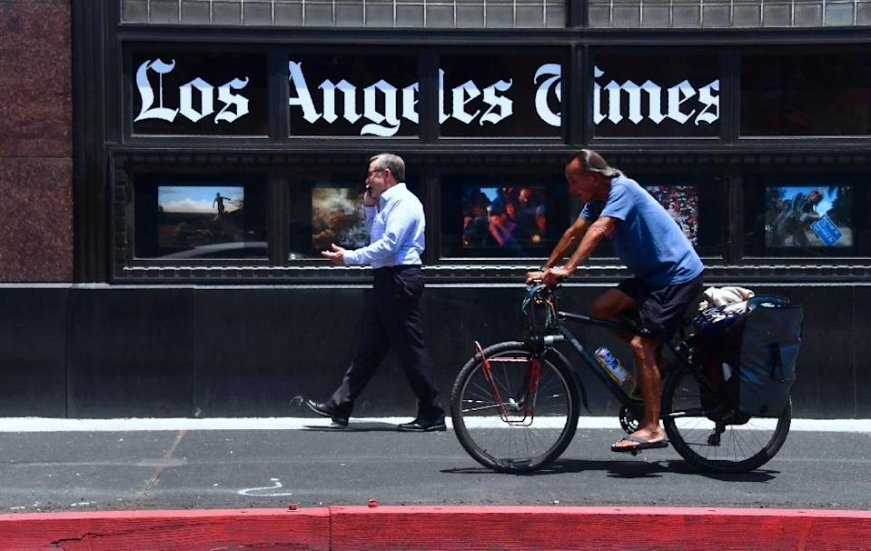 The LA Times said Saturday that the attack, which was first assumed to have been a server outage, hit the computer systems of its parent Tribune Publishing that were connected to the printing process (AFP Photo/Frederic J. BROWN)