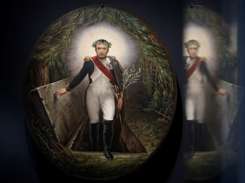 "The micro-mosaic ""Napoleon Coming out of his Tomb"" is displayed in the Musee de l'Armee in Paris"