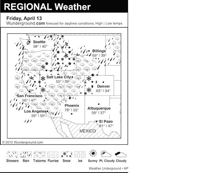 This is the Weather Underground forecast for Friday, April 13, 2012 for the western region of the U.S. (AP Photo/Weather Underground)