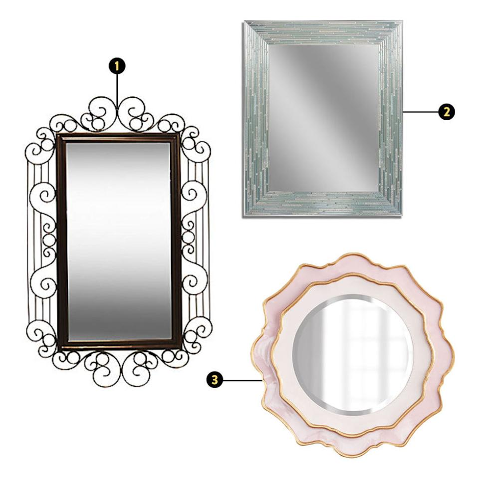 """<p><strong><em>1. PTM Images Decor Nouveau Mirror Wall Art, $144, <a rel=""""nofollow"""" href=""""http://www.jcpenney.com/ptm-images-deco-nouveau-mirror-wall-art/prod.jump?ppId=pp5004821110&selectedSKUId=77222450018&selectedLotId=7722245&fromBag=true&cm_mmc=ShoppingFeed-_-GooglePLA-_-Wall20Mirrors-_-77222450018&utm_medium=cse&utm_source=google&utm_campaign=wall20mirrors&utm_content=77222450018&cm_mmc=Affiliates-_-J84DHJLQkR4-_-1-_-10&utm_medium=affiliate&utm_source=J84DHJLQkR4&utm_campaign=1&utm_content=10&siteID=J84DHJLQkR4-lzxFl7J3RFtGWytz%2AA%2FCdA"""">jcpenney.com</a>; 2. Head West Reeded Wall Mirror, $140, <a rel=""""nofollow"""" href=""""http://www.kohls.com/product/prd-2035537/head-west-reeded-wall-mirror.jsp?color=Sea_Glass"""">kohls.com</a>; 3. Horchow Rosemeade Mirror, $224, <a rel=""""nofollow"""" href=""""http://www.horchow.com/Rosemeade-Mirror-All-Decor/cprod105250054_cat20260736__/p.prod?icid=&searchType=EndecaDrivenCat&rte=%252Fcategory.jsp%253FitemId%253Dcat20260736%2526pageSize%253D120%2526Nao%253D0%2526refinements%253D&eItemId=cprod105250054&cmCat=product&ecid=HCAJ84DHJLQkR4"""">horchow.com</a></em></strong></p><p>It's a small-space trick that carries over into the realm of feng shui: mirrors can make a huge difference. Carrillo says, """"If you want the space to feel larger, or if you want to enhance a <em>gua</em> (or area of life on the <em>bagua</em> map), you can put a mirror there to amplify that area of your life.""""</p><p>But she does advise that mirrors are to be used with caution. """"One of my pet peeves is having a full-length mirror that cuts your head off,"""" she says. """"Because that's symbolically cutting your head off!<span>"""" And that's not necessarily great for reflecting a whole, happy you, going into the new spring season. </span></p><p><span>Also, as far as placement goes, """"m</span>irrors are great almost anywhere but the bedroom. I don't recommend a lot of mirrors in the bedroom, and if you do have mirrors there, you want to cover them at night because they have active <em"""