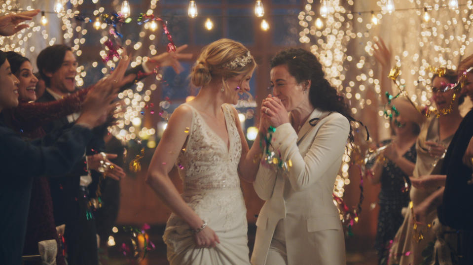 A Christian-right organization is calling for a Hallmark Channel boycott after the network aired a commercial featuring a lesbian kiss. (Photo: Zola)
