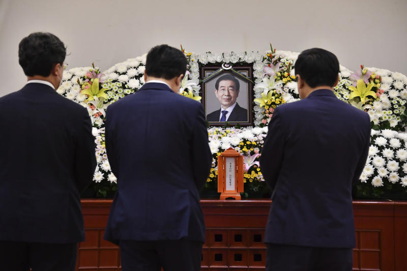 "In this photo provided by Seoul Metropolitan Government, a portrait of the deceased Seoul Mayor Park Won-soon is placed at a hospital in Seoul, South Korea, Friday, July 10, 2020. Park left a note saying he felt ""sorry to all people"" before he was found dead early Friday, officials in the South Korean capital said as people began mourning the liberal legal activist seen as a potential presidential candidate. (Seoul Metropolitan Government via AP)"