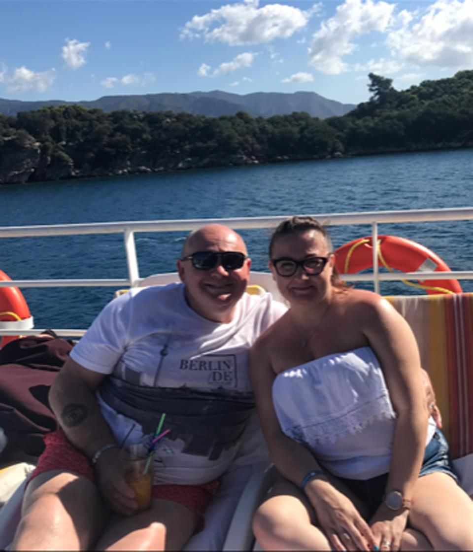 Becki and Blue price on a boat