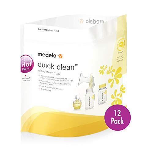 "<p><strong>Medela</strong></p><p>amazon.com</p><p><strong>$11.99</strong></p><p><a href=""https://www.amazon.com/dp/B07XV4NJHG?tag=syn-yahoo-20&ascsubtag=%5Bartid%7C10055.g.34800241%5Bsrc%7Cyahoo-us"" rel=""nofollow noopener"" target=""_blank"" data-ylk=""slk:Shop Now"" class=""link rapid-noclick-resp"">Shop Now</a></p><p>If you want something with no-fuss, easy to use, and great for on-the-go, try the Medela steam bags for all of your bottle sterilizing needs. <strong>They're affordable (each steamer bag can be reused up to 20 times) and can be compactly stashed in your diaper bag if you need to sterilize while of the house. </strong>Simply add bottles, pump parts, or accessories with water to the bag and pop it in the microwave for about 2.5 minutes. Parents love these bags even when in the house, as they don't take up any counter space and are so easy to use. They come in a 12 or 15 pack for under 20 bucks.</p>"