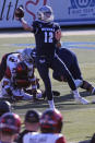 Nevada quarterback Carson Strong passes for a first down in the first half of an NCAA college football game against Diego State, Saturday, Nov. 21, 2020, Reno, Nev. (AP Photo/Lance Iversen)