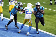 Carolina Panthers running back Mike Davis (28) runs into the end zone with for a touchdown after a reception during the first half of an NFL football game Los Angeles Chargers Sunday, Sept. 27, 2020, in Inglewood, Calif. (AP Photo/Ashley Landis)