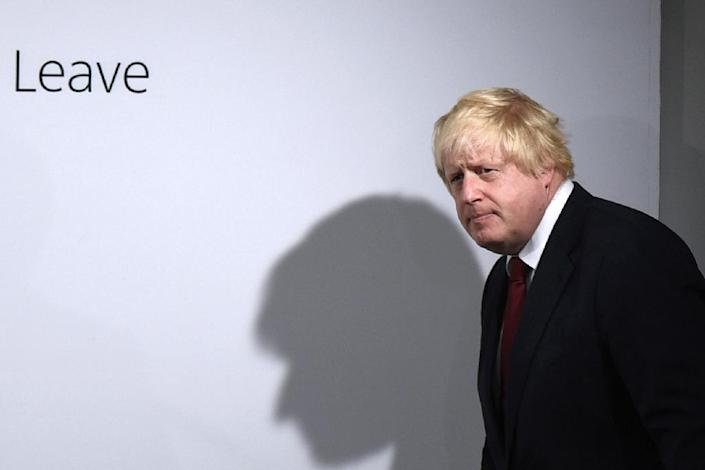 """Boris Johnson, pictured here in London on June 24, 2016, was a figurehead of the """"Vote Leave"""" campaign, but made a spectacular exit out of the race to replace Remain-campaigning prime minister David Cameron after Britain voted to leave the EU (AFP Photo/Mary Turner)"""