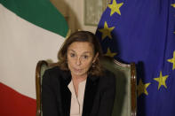 Italian Interior Minister Luciana Lamorgese answers journalists' question during an interview with the Associated Press at the Interior Ministry headquarters in Rome Friday, Oct. 30, 2020. Italy's interior minister confirmed Friday that the suspect in Nice's attack was ordered to leave Italy on Oct. 9. Minister Luciana Lamorgese did not give further details on what, if any action, was taken to ensure the man complied with the order, but said he was not flagged by either Tunisian authorities nor by intelligence agencies. (AP Photo/Gregorio Borgia)