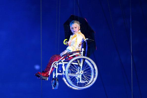 LONDON, ENGLAND - AUGUST 29: Disabled actress Nicola Miles-Wildin as Miranda performs during the Opening Ceremony of the London 2012 Paralympics at the Olympic Stadium on August 29, 2012 in London, England. (Photo by Chris Jackson/Getty Images)