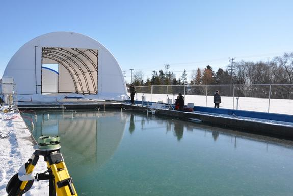 Researchers are looking to simulate Arctic ice with this 30-foot-long pool at the Sea-ice Environmental Research Facility in Winnipeg, Canada.