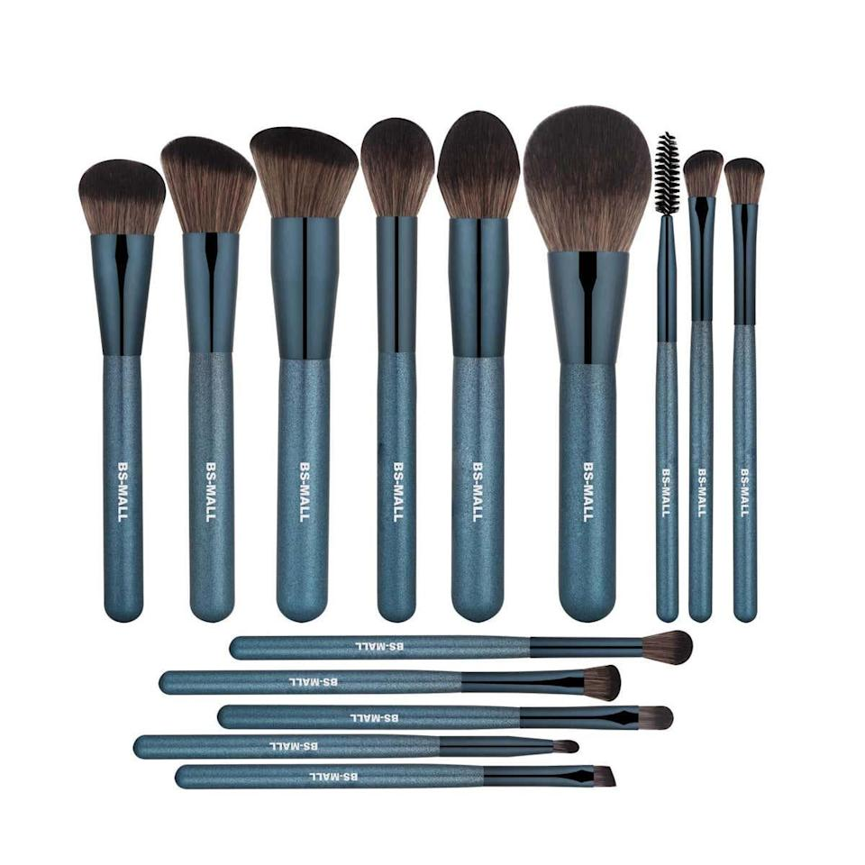 "<p><strong>Star Rating:</strong> 4.5 out of 5</p> <p><strong>Key selling points:</strong> Aside from their shiny blue finish, these soft and silky brushes can hold cream and powder products without absorbing them into the bristles—which means less maintenance for you. The birch handle is corrosion resistant, so these are bound to outlive your average makeup brushes.</p> <p><strong>What customers say:</strong> ""We all know how much better our makeup can look just by using the right brushes, and I've amassed <em>many</em> makeup brushes since my college days. That said, these brushes rival some of my more expensive ones. They may not have the cutest name but please don't let that fool you! I'm here to tell you that they have some of the most incredibly smooth, ultra-soft feeling bristles I've ever felt on any brush! They feel like whipped butter gliding over your face. And the price!?! Omg! I'm not even sure how this company offers such high quality brushes at such an uber-low price, but I'm so happy that they do!"" —<a href=""https://amzn.to/3uU9m4b"" rel=""nofollow noopener"" target=""_blank"" data-ylk=""slk:Zahra"" class=""link rapid-noclick-resp""><em>Zahra</em></a></p> $15, Amazon. <a href=""https://www.amazon.com/BS-MALL-Brushes-Synthetic-Foundation-Concealers/dp/B07MW3PVMN/ref=sr_1_57_sspa"" rel=""nofollow noopener"" target=""_blank"" data-ylk=""slk:Get it now!"" class=""link rapid-noclick-resp"">Get it now!</a>"