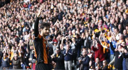 Britain Soccer Football - Hull City v West Ham United - Premier League - The Kingston Communications Stadium - 1/4/17 Hull City's Andrea Ranocchia celebrates scoring their second goal Action Images via Reuters / Ed Sykes Livepic