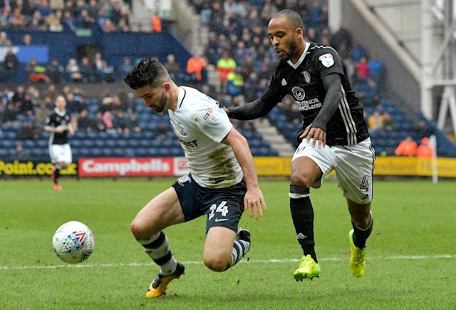 "Soccer Football - Championship - Preston North End vs Fulham - Deepdale, Preston, Britain - March 10, 2018 Preston's Sean Maguire in action with Fulham's Dennis Odoi Action Images/Paul Burrows EDITORIAL USE ONLY. No use with unauthorized audio, video, data, fixture lists, club/league logos or ""live"" services. Online in-match use limited to 75 images, no video emulation. No use in betting, games or single club/league/player publications. Please contact your account representative for further details."