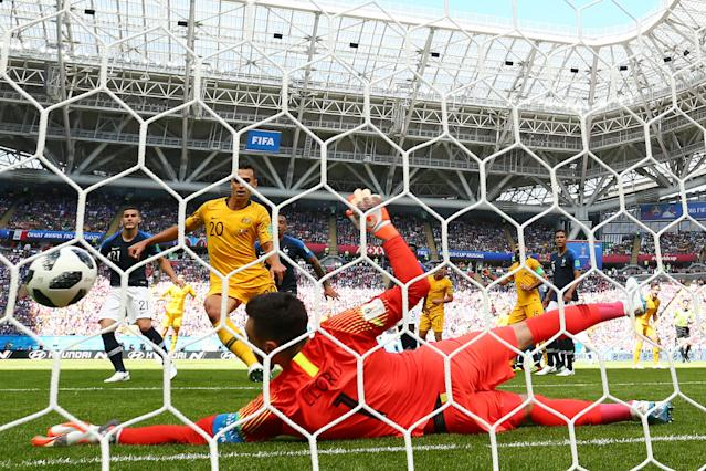 <p>Australia go close at the Kazan Arena but Hugo Lloris keeps them out early on (getty) </p>