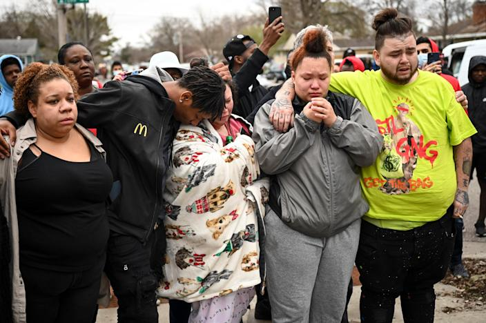 <p>Family and friends of Daunte Wright, 20, grieve after they say he was shot and killed by police on 11 April 2021 in Brooklyn Center</p> (AP)