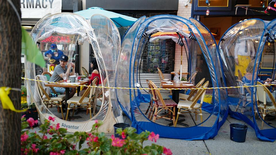 Pandemic outdoor dining igloo shutterstock_1823621222