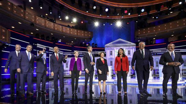 PHOTO: 2020 Democratic presidential candidates take the stage for the first Democratic presidential primary debate for the 2020 election at the Adrienne Arsht Center for the Performing Arts, June 26, 2019 in Miami. (Drew Angerer/Getty Images)