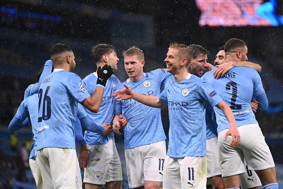 <p>Manchester City's players celebrate Riyad Mahrez's second goal</p> (Getty Images)