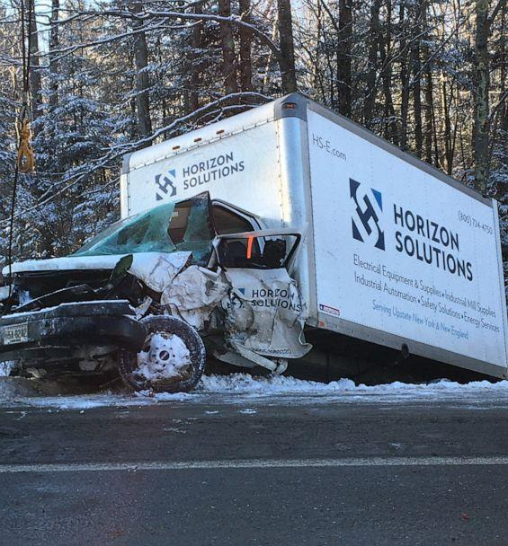 PHOTO: A truck involved in a multi-vehicle crash on I-95 near Carmel, Maine, sits on the shoulder of the highway, Jan. 7, 2020. (Gina Marini/ WVII )