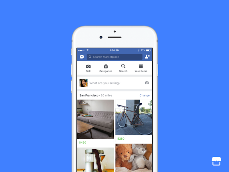 The new Facebook feature enables users to buy and sell items with others nearby. Source: Facebook.