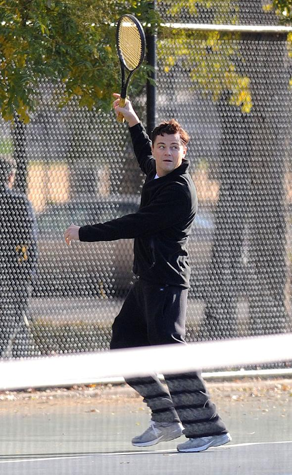 """Leo DiCaprio plays tennis as part a scene on """"Wolf of Wall Street"""" in Brooklyn, New York City. Pictured: Leo DiCaprio  Ref: SPL455443  141112  Picture by: Splash News   Splash News and Pictures Los Angeles:310-821-2666 New York:212-619-2666 London:870-934-2666 photodesk@splashnews.com"""