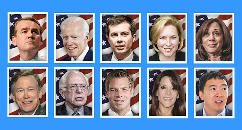Top row, from left: Michael Bennet, Joe Biden, Pete Buttigieg, Kirsten Gillibrand, Kamala Harris. Bottom row, from left: John Hickenlooper, Bernie Sanders, Eric Swalwell, Marianne Williamson and Andrew Yang. (Yahoo News photo Illustration; photos: AP, Getty Images)