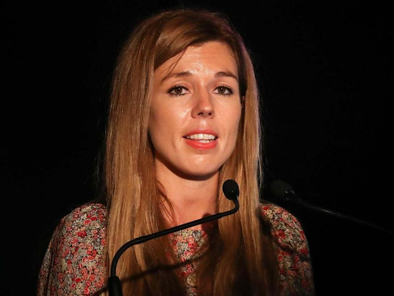 Carrie Symonds, the partner of prime minister Boris Johnson, gives a speech at environmental awareness conference Birdfair on 16 August: Getty Images