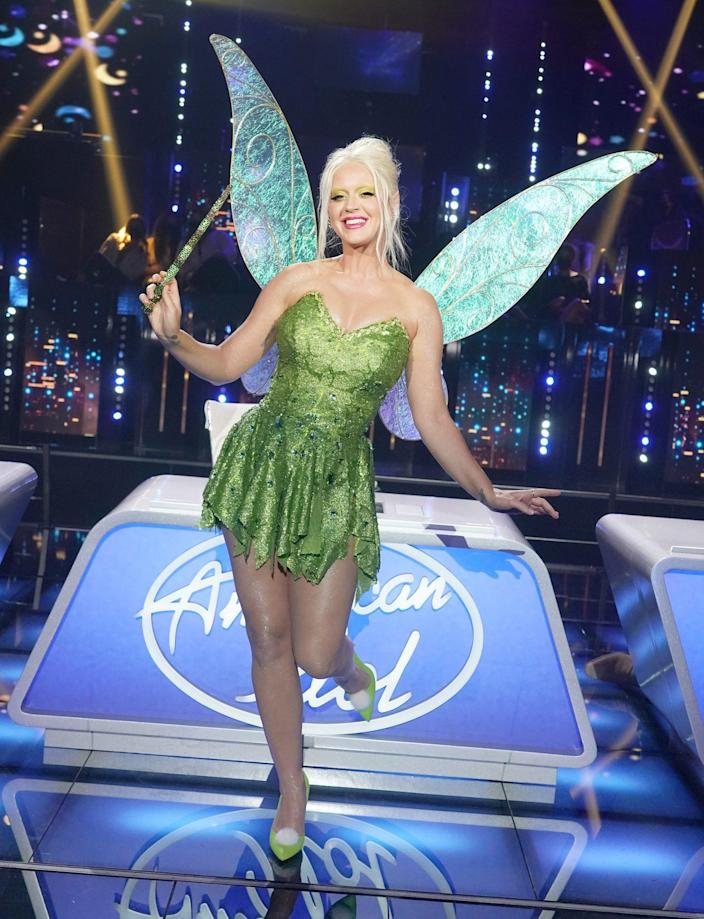 <p>Katy Perry transforms into Tinker Bell in honor of<em> American Idol</em>'s Disney Night on Sunday.</p>