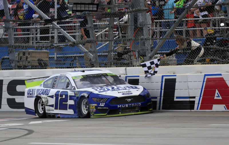 Ryan Blaney gets the checkered flag after winning at Talladega. (Photo by Jeff Robinson/Icon Sportswire via Getty Images)