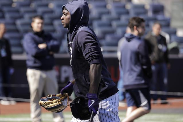 New York Yankees' Didi Gregorius walks the infield during a team practice at Yankee Stadium Thursday, Oct. 10, 2019, New York. The Yankees will play the winner of tonight's Tampa Bay Rays at Houston Astros American League Division Series game in Game 1 of the American League Championship Series on Saturday, Oct. 12 in New York. (AP Photo/Frank Franklin II)
