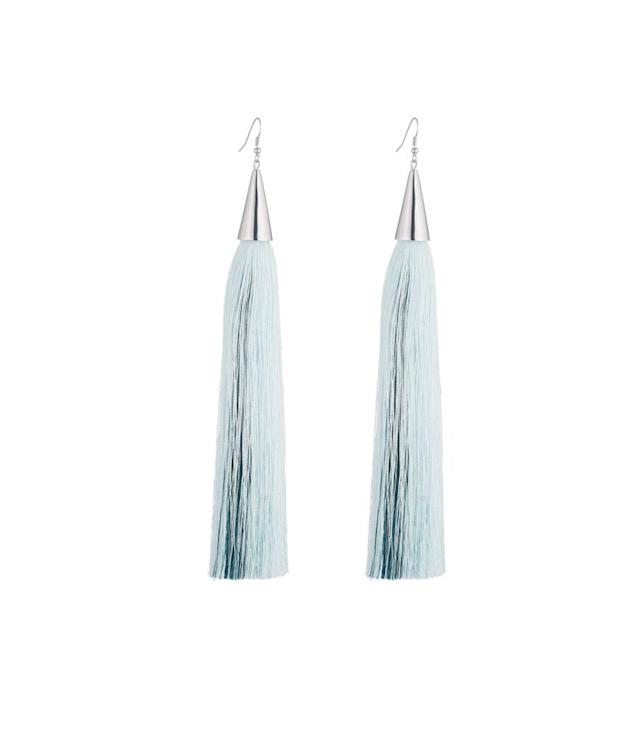 "<p>Eddie Borgo long silk-tassel earring light-blue/jet, $340, <a href=""http://www.eddieborgo.com/collections/tassel-collection-1/long-silk-tassel-earring-light-blue-black"" rel=""nofollow noopener"" target=""_blank"" data-ylk=""slk:eddieborgo.com"" class=""link rapid-noclick-resp"">eddieborgo.com</a> </p>"