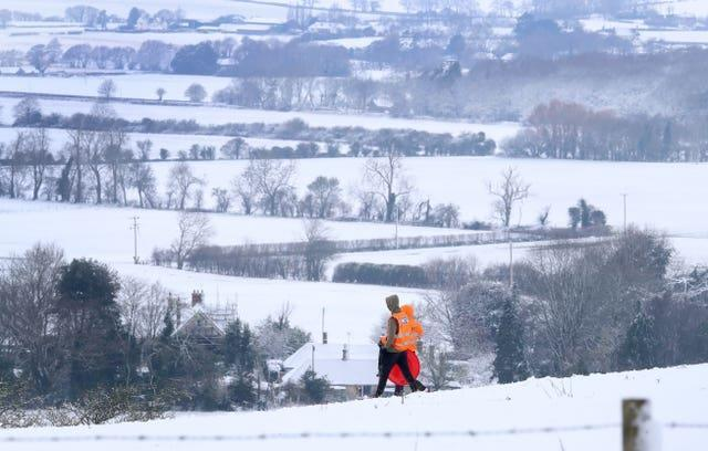 Snowy scenes from Farthing Common in Kent