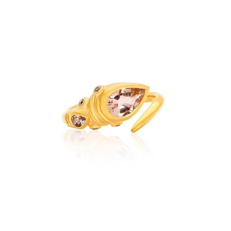 """<p>Established in Zimbabwe, Bergen & Rowe's jewellery collection 'The African Prelude' offers an intimately wild African safari escape, with an alluring and unique yet classic aesthetic. Featured is their Spear Ring with morganite and champagne diamonds set in 14-carat gold vermeil. <a href=""""https://www.bergenandrowe.com/collections/african-prelude/products/morganite-champagne-diamond-spear-ring"""" rel=""""nofollow noopener"""" target=""""_blank"""" data-ylk=""""slk:bergenandrowe.com"""" class=""""link rapid-noclick-resp"""">bergenandrowe.com</a></p> <p><em>Follow them on Instagram</em> <a href=""""https://www.instagram.com/bergenandrowe/"""" rel=""""nofollow noopener"""" target=""""_blank"""" data-ylk=""""slk:@bergenandrowe"""" class=""""link rapid-noclick-resp""""><em>@bergenandrowe</em></a></p>"""