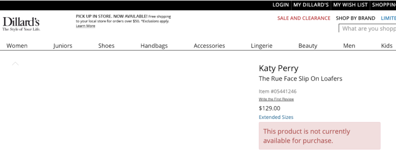 "How the page for Katy Perry's ""Rue Face Slip On Loafers"" looked at one point on Dillard's website Monday afternoon. (Screengrab from Dillard's retail website.)"
