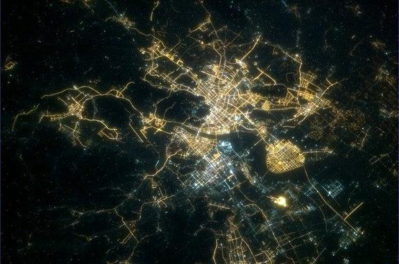 Canadian Space Agency astronaut Chris Hadfield posted this view of Hangzhou, China, from space at night on Feb. 9, 2013, to mark the start of Chinese New Year on Feb. 10.