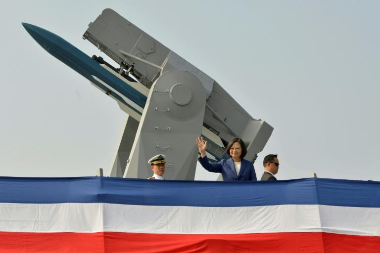 Taiwan President Tsai Ing-wen vowed to continue enhancing the navy's capabilities