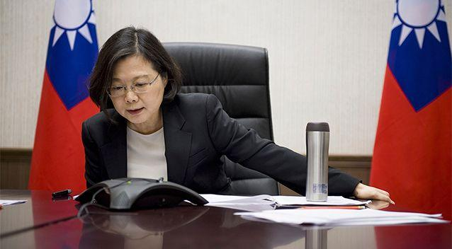 Taiwan's President Tsai Ing-wen speaks with US President-elect Donald Trump through a speaker phone in Taipei, Taiwan. Photo: Taiwan Presidential Office via AP